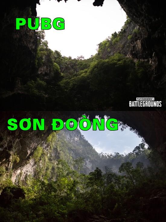 Ảnh trên: Hình chụp trong PUBG; Ảnh dưới: Hang Sơn Đoòng tại Việt Nam
