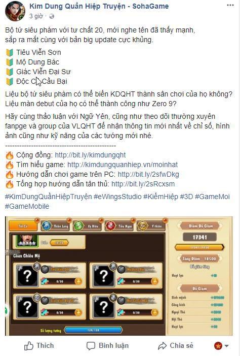 Độc Cô Cầu Bại bất ngờ xuất hiện trong thông báo của fanpage Kim Dung Quần Hiệp Truyện trong bản update sắp tới
