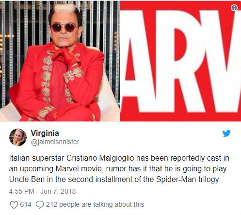 Ngôi sao Cristiano Malgioglio đã được chọn cho vai chú Ben trong phần phim tiếp theo về Spider-Man.