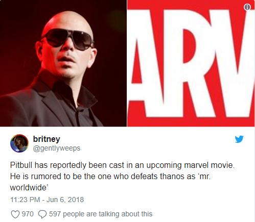 Pitbull được kỳ vọng sẽ đánh bại Thanos trong bộ phim sắp tới của Marvel.