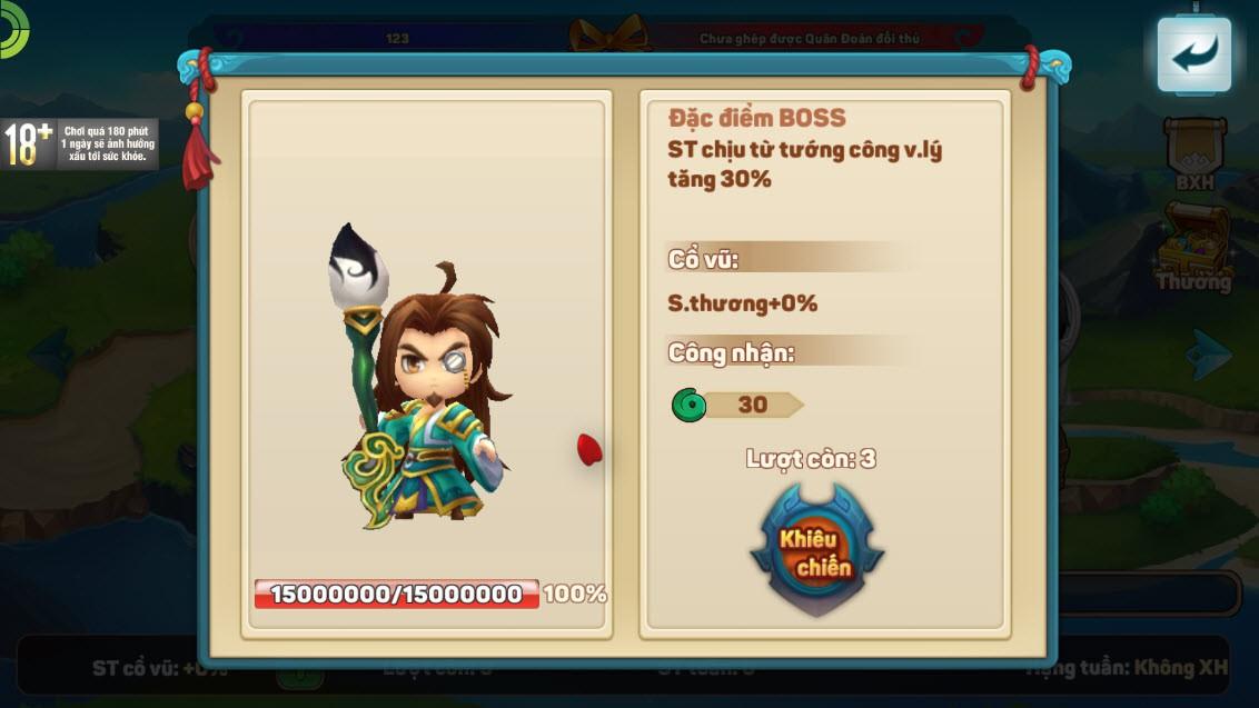 """Team nông dân """"gật gù"""" khen Boss của Tiểu Tiểu Tam Quốc Chí: Tùy chọn độ khó, mỗi ngày 1 loại, server càng lâu Boss càng trâu - Ảnh 2."""