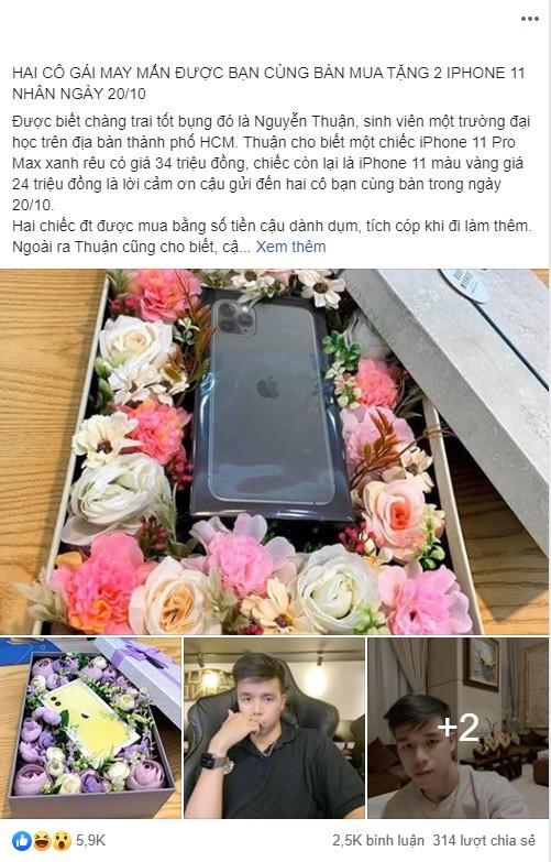 Mua hai chiếc iPhone 11 tặng bạn gái cùng bàn vì giúp mình trong giờ kiểm tra, nam sinh 21 tuổi khiến cư dân mạng dậy sóng - Ảnh 1.