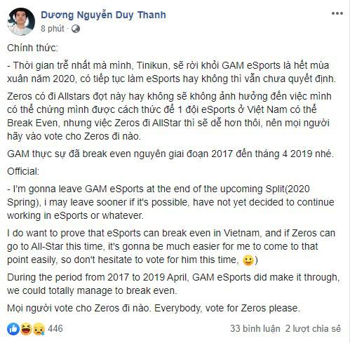 HLV Tinikun chính thức thông báo sẽ rời GAM Esports sau VCS mùa xuân 2020 - Ảnh 1.