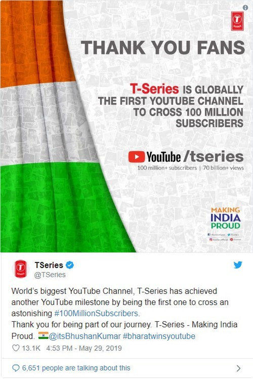 Xong, T-Series chính thức đánh bại Pewdiepie, trở thành kênh Youtube đầu tiên cán mốc 100 triệu subs - Ảnh 2.