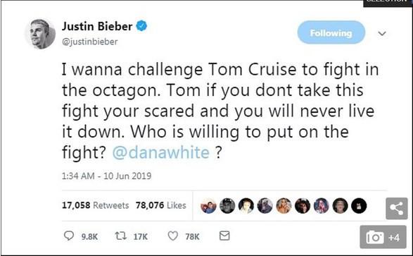 Justin Bieber gạ đấm nhau với Tom Cruise, Paul Logan vào can ngăn cũng bị dọa cho ăn đòn - Ảnh 1.