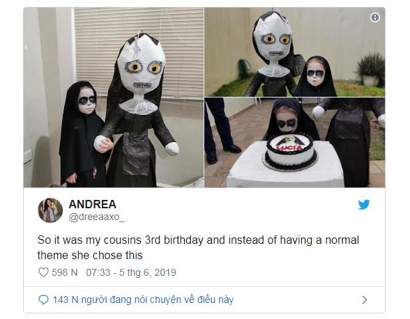 Cô bé 3 tuổi tổ chức sinh nhật theo phong cách ác quỷ Valak khiến dân mạng một phen trầm trồ - Ảnh 2.