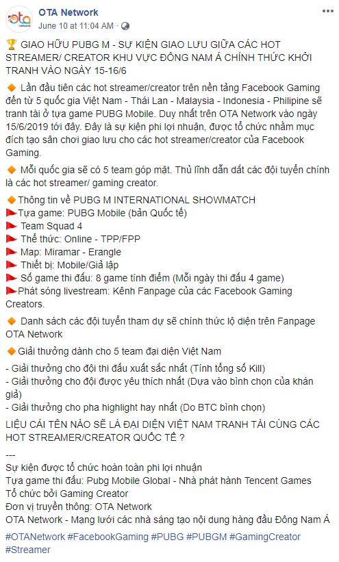 Toàn bộ drama Facebook Gaming Creator, OTA Network và VNG PUBG Mobile hay câu chuyện sự tôn trọng đối tác - Ảnh 2.