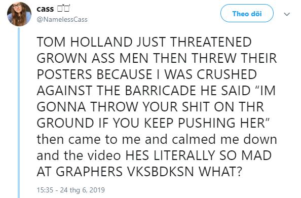 Ra tay bảo vệ fan nữ, Tom Holland chứng minh mình đích thực là Người Nhện ngoài đời thật - Ảnh 4.