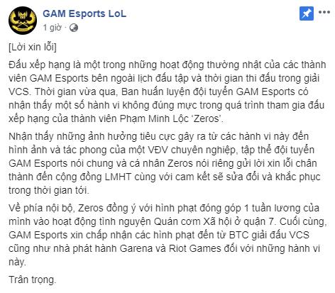 LMHT: Toxic khi đánh xếp hạng, Ma Vương Zeros bị GAM Esports phạt nóng, thậm chí còn đề xuất lên VCS - Ảnh 1.