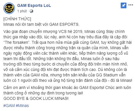 LMHT: Sau rất nhiều đồn đoán, cuối cùng GAM Esports cũng xác nhận chia tay Minas - Ảnh 1.