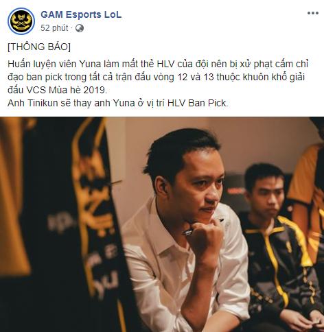 LMHT - Khép gối quỳ lạy GAM Esports: Hết Zeros, giờ đến lượt HLV Yuna bị cấm chỉ đạo vì... mất thẻ - Ảnh 1.