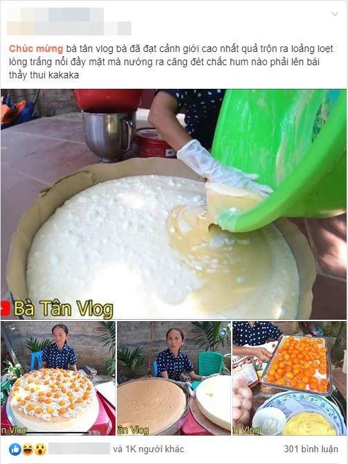 Làm bánh bông lan siêu to khổng lồ, bà Tân Vlog bị dân mạng tố clip sặc mùi dàn dựng - Ảnh 3.