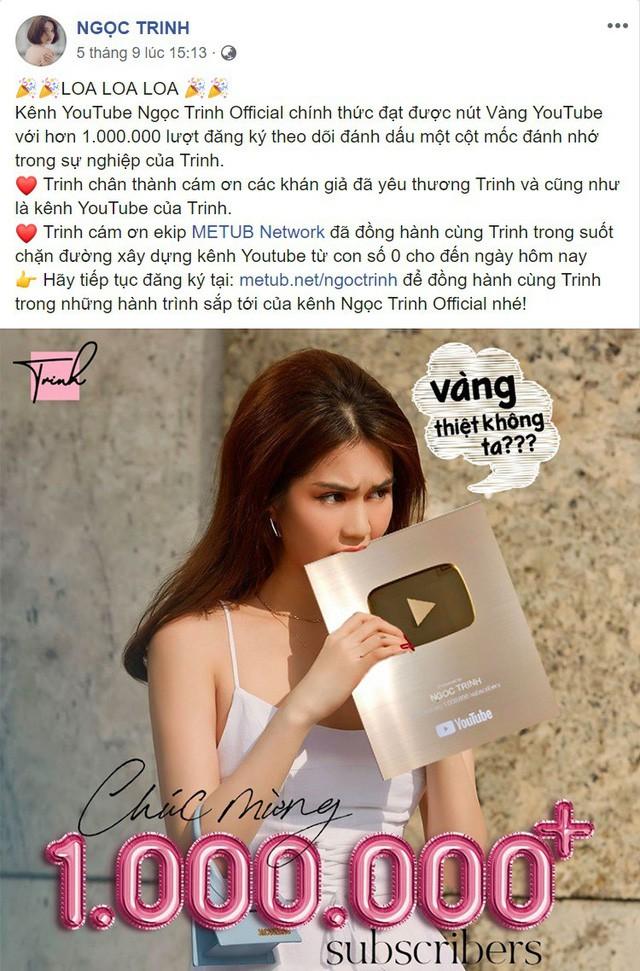 Hơn đứt nhiều Youtuber đình đám, Ngọc Trinh là cái tên mới nhất giành được nút vàng Youtube - Ảnh 1.