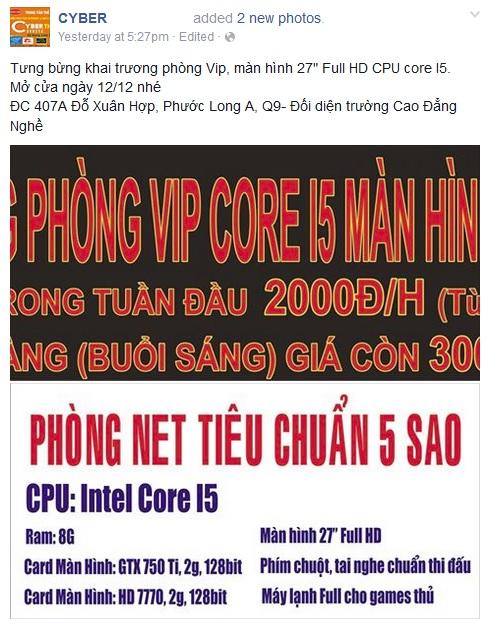 Bảng giá khuyến mại kèm theo cấu hình máy gây shock của một cyber game tại TP Hồ Chí Minh.
