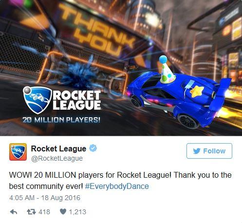 Thông báo trên trang twitter chính thức của Rocket League.