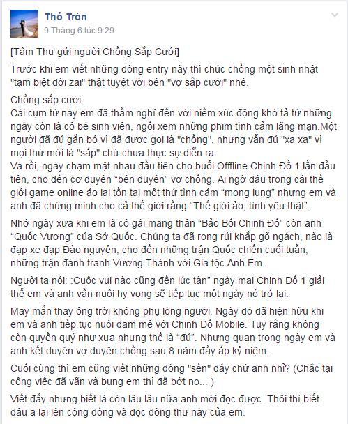 Bức tâm thư gửi người chồng sắp cưới của cô nàng Thỏ Tròn được đăng tải trong group Chinh Đồ Mobile vào hôm 09/06