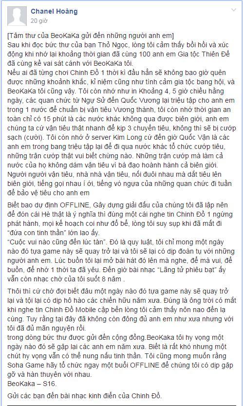Bức tâm thư của BeoKaKa gửi đến những người anh em của mình