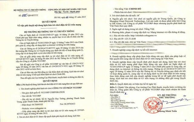 Quyết định cấp phép chính thức của game Chinh Đồ do SohaGame phát hành tại Việt Nam
