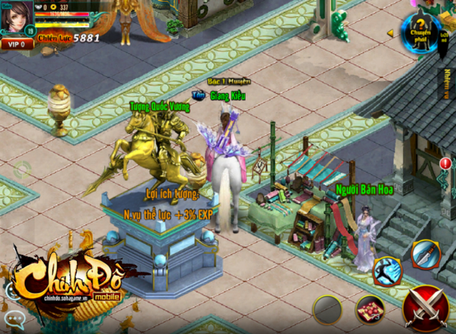 Khi trở thành Hoàng Đế, người chơi Chinh Đồ Mobile sẽ được đúc tượng Vàng vinh danh.