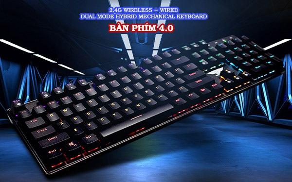 Bàn phím cơ không dây Dual Mode Newmen GM335 hai chế độ, ánh sáng đầy màu sắc