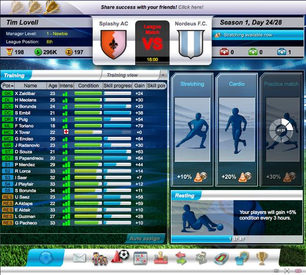 Top Eleven tham gia các giải đấu bên lề để kiếm tiền thưởng, nâng cấp đội bón Training-screen-41e33