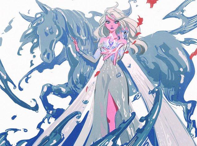 Chị em Nữ hoàng băng giá Elsa trong Frozen lột xác từ diện mạo tới tính cách qua nét vẽ của fan - Ảnh 1.