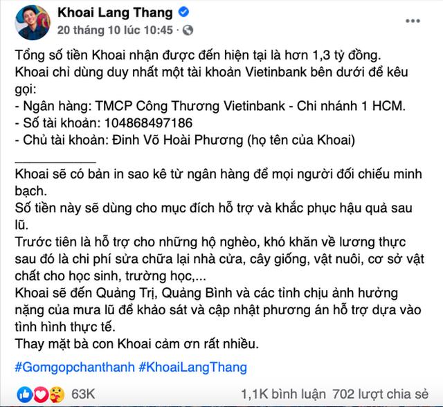 Hướng về miền Trung, Khoai Lang Thang kêu gọi quyên góp được 1,65 tỷ, Sang Vlog dành hẳn nửa tháng lương Youtube để ủng hộ - Ảnh 3.