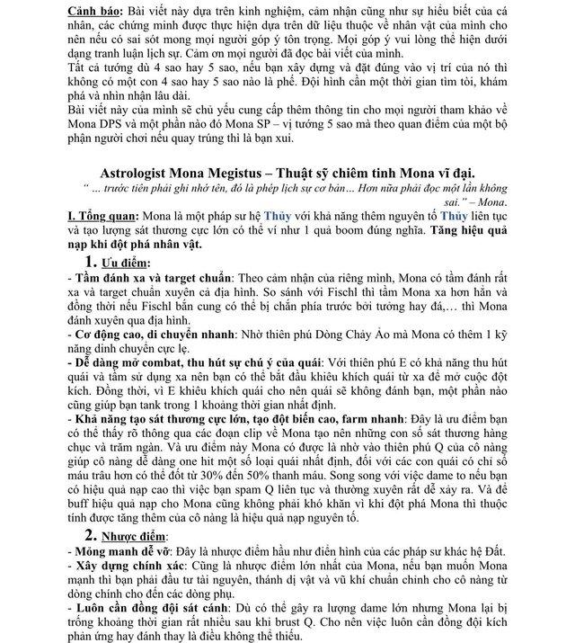 Xuất hiện giáo sư Genshin Impact, làm bài luận dài 5 trang giấy để hướng dẫn xây dựng nhân vật - Ảnh 2.