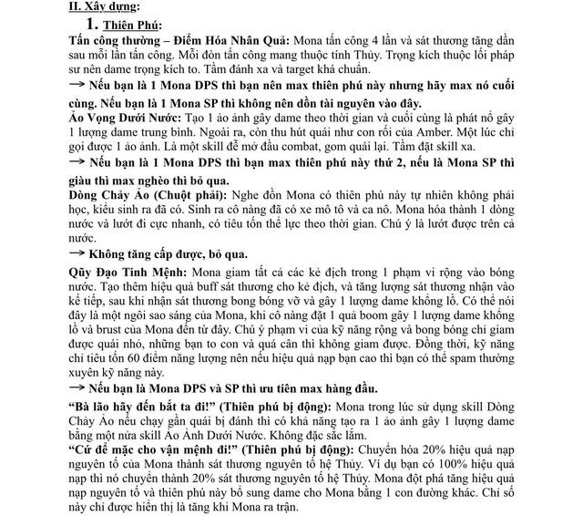 Xuất hiện giáo sư Genshin Impact, làm bài luận dài 5 trang giấy để hướng dẫn xây dựng nhân vật - Ảnh 3.