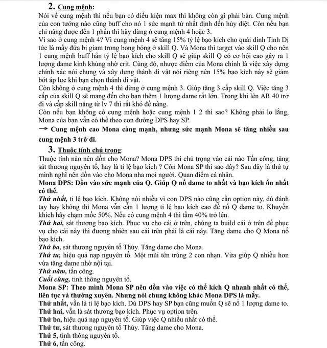 Xuất hiện giáo sư Genshin Impact, làm bài luận dài 5 trang giấy để hướng dẫn xây dựng nhân vật - Ảnh 4.