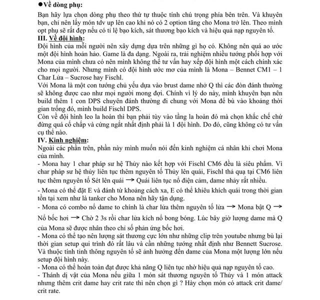 Xuất hiện giáo sư Genshin Impact, làm bài luận dài 5 trang giấy để hướng dẫn xây dựng nhân vật - Ảnh 7.