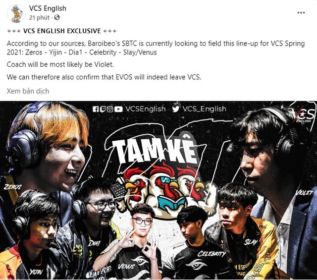 Thông tin độc quyền được chia sẻ trên Fanpage VCS English về line-up của team SBTC