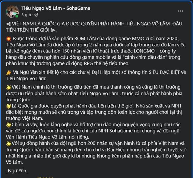 Kỳ tích mang tên Tiếu Ngạo Võ Lâm: Game thủ Việt sẽ là chuẩn mực của thế giới - Ảnh 2.