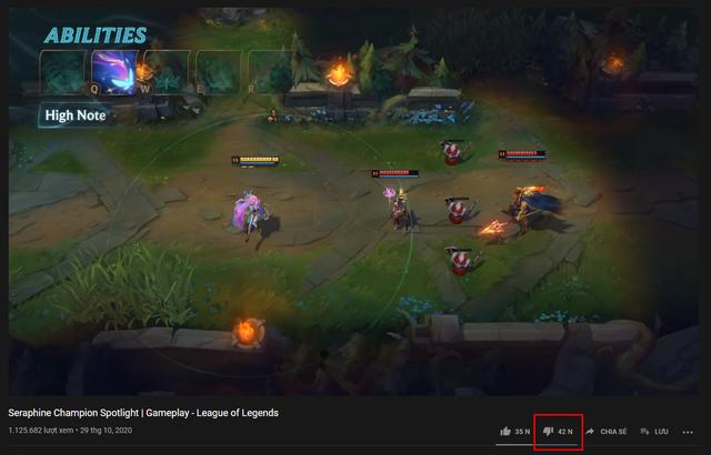 Seraphine đã nhận hơn 42 nghìn lượt dislike cho video tiêu điểm tướng của mình