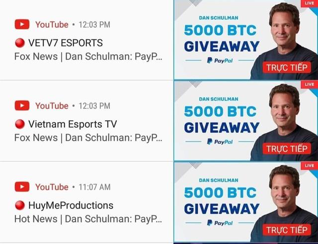 2 kênh Youtube của VETV đồng loạt bị hack, chuyển sang quảng cáo... bitcoin - Ảnh 1.