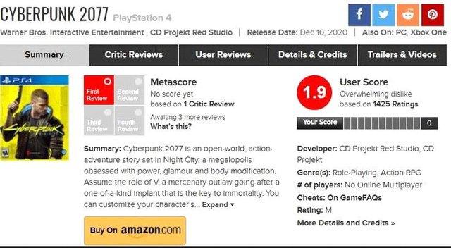 """Cyberpunk 2077 nhận """"bão dislike"""" từ cộng đồng game thủ Photo-1-16079332016191939809592"""
