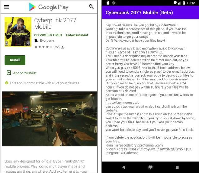 Cảnh báo ransomware giả mạo game Cyberpunk 2077 dành cho Android