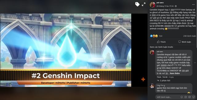 """Game thủ cãi nhau kịch liệt, phản đối Genshin Impact là """"game hay nhì thế giới năm 2020"""" - Ảnh 2."""