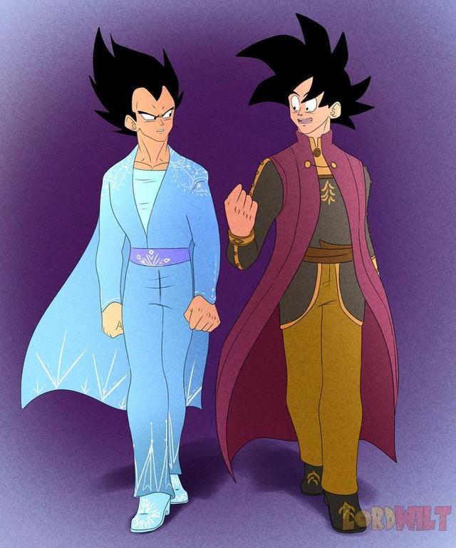Ngỡ ngàng khi dàn nhân vật Dragon Ball gia nhập thế giới Disney, Vegeta hóa quái thú bên cạnh công chúa Bulma - Ảnh 3.
