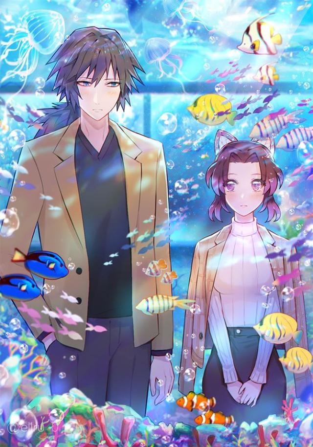 Kimetsu no Yaiba: Ngày lễ Tình yêu, Thủy trụ và Trùng trụ thân mật qua loạt fan art đẹp như mơ - Ảnh 7.