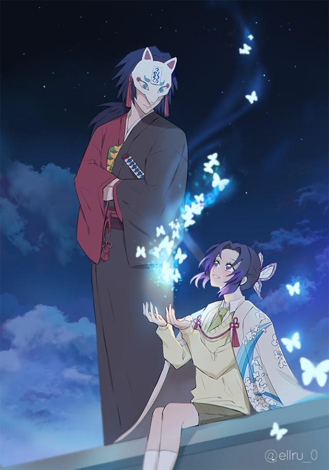 Kimetsu no Yaiba: Ngày lễ Tình yêu, Thủy trụ và Trùng trụ thân mật qua loạt fan art đẹp như mơ - Ảnh 10.