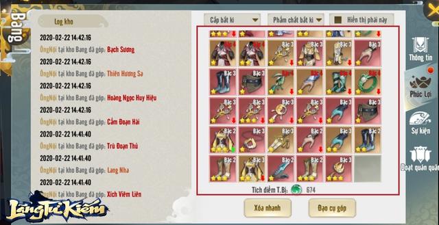 Không cần nạp, cứ vào Kho Bang là tha hồ đổi đồ xịn đồ hiếm: Dân cày cực hài lòng với Lãng Tử Kiếm 3D! - Ảnh 12.