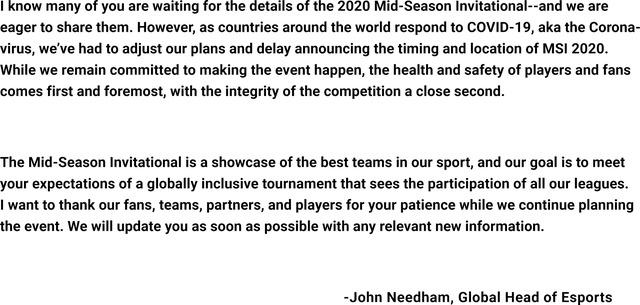 Chính thức: Giải đấu MSI - Mid-Season Invitational 2020 bị lùi lịch khởi tranh - Ảnh 1.