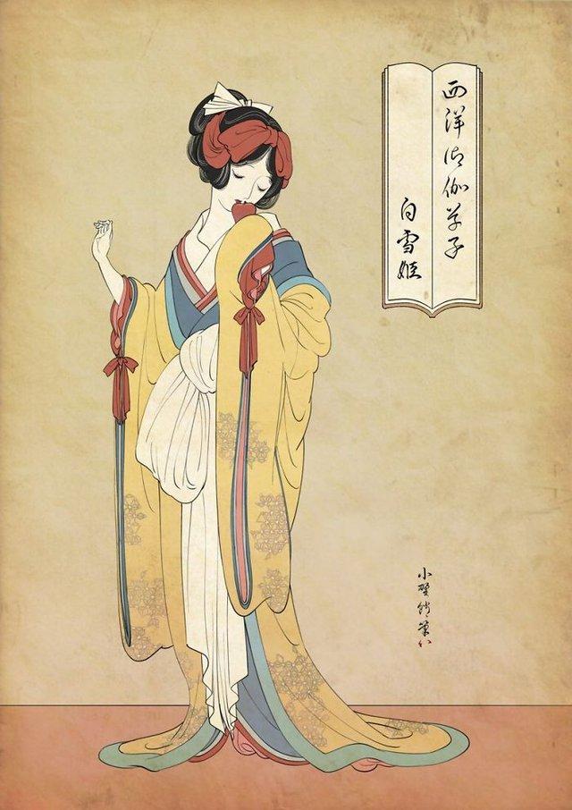 Công chúa Disney qua bàn tay ma thuật của nghệ sĩ được tái hiện theo phong cách truyền thống Nhật Bản - Ảnh 1.