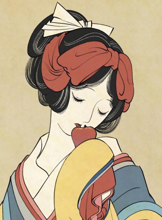 Công chúa Disney qua bàn tay ma thuật của nghệ sĩ được tái hiện theo phong cách truyền thống Nhật Bản - Ảnh 2.