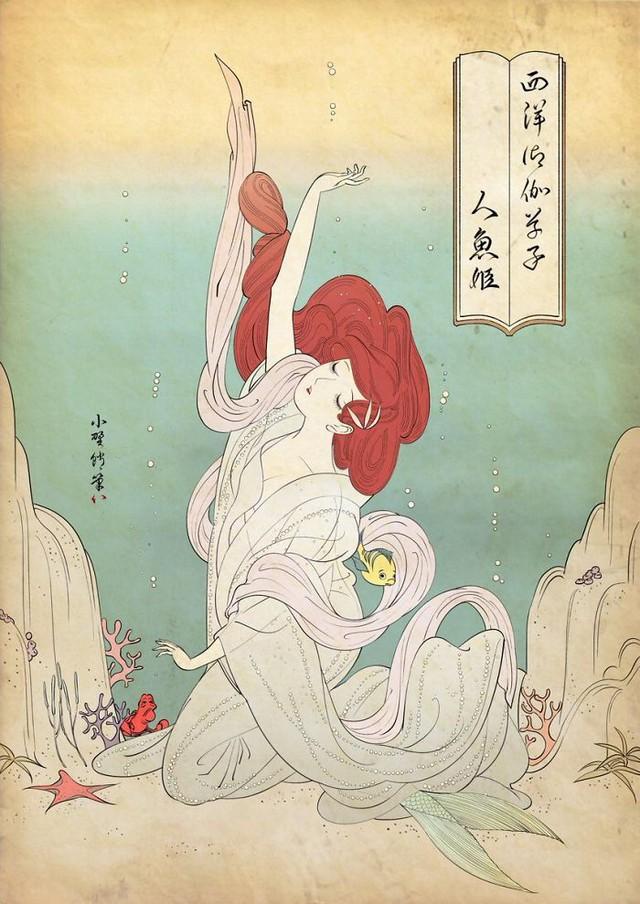 Công chúa Disney qua bàn tay ma thuật của nghệ sĩ được tái hiện theo phong cách truyền thống Nhật Bản - Ảnh 5.
