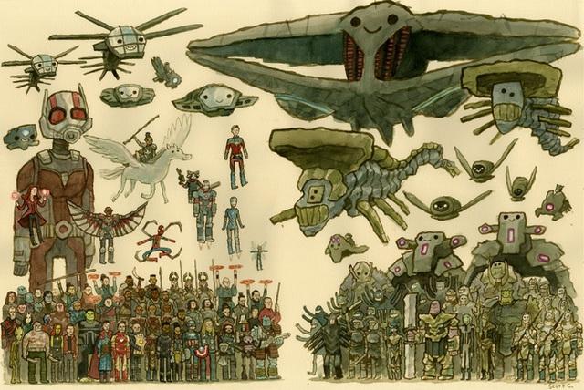 Anh họa sĩ dành 45 tiếng để vẽ bức tranh Endgame siêu to khổng lồ: Ai cũng mỉm cười thân thiện chứ không đánh nhau tán loạn như trên phim - Ảnh 1.