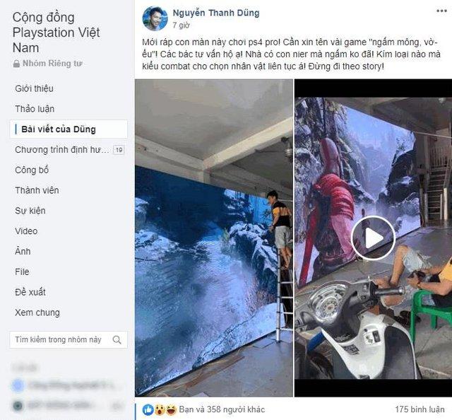 Game thủ Việt ráp màn hình siêu to khổng lồ hàng trăm inch giá 90 triệu để cắm PS4 chơi God Of War - Ảnh 2.