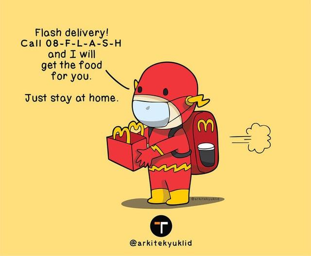[Chùm ảnh vui] Cuộc sống của các siêu anh hùng khi tự cách ly tại nhà: Cap giặt quần áo xong đưa Wonder Woman phơi hộ - Ảnh 8.