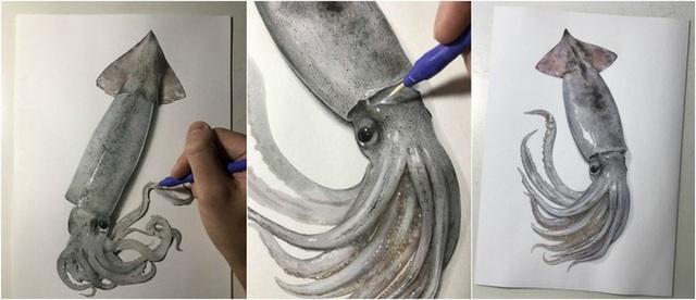 Nghệ sĩ Nhật vẽ tranh siêu thực khiến người xem cứ ngỡ như đang nhìn một con mực sống trước mặt - Ảnh 1.